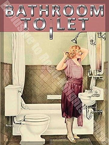 Toilette Salle De Bain Pour Let Maison Vintage Métal/Enseigne Mural En Acier - 20 x 30 cm