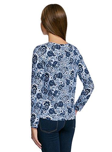 oodji Ultra Damen Sweatshirt mit Schriftzug und Bedruckten Ärmeln Weiß (1070P)