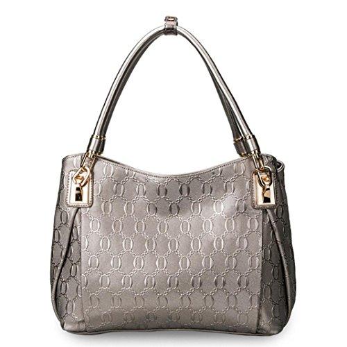 CELO Pelle di cuoio genuina e la borsa delle donne di modo della moda degli Stati Uniti Trend di svago La borsa trasversale obliqua della traversa delle signore , oro Silver
