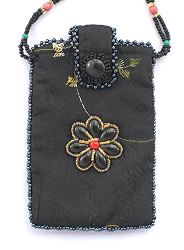 Sac en soie pour téléphone portable motif fleur - billes de verre et porcelaine Noir