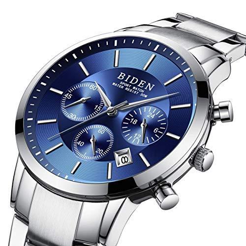 Uhren, Uhren Herren, Luxiöuriöse Edelstahluhr im blauen Design Chronograph Herrenuhr, Wasserdichte Quarz Armbanduhr