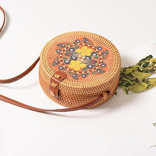 Bali Island handgefertigte Wicker Bag Runde Rattan Stroh Tasche Rattan Retro Art handgefertigte Blütenblatt Tasche gewebt Tasche PU Schultergurt Jinhua -