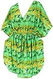 LA LEELA glatt Likre lässig Strand Hawaii Aloha Kaftan kurzes Kleid Maxi grün
