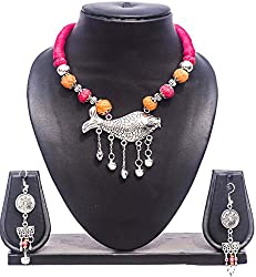 Pentacrafts German Silver Fish Pendent with Colored Ball Women Girl Threaded Necklace, Color Red & Carrot Orange