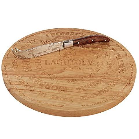 Laguiole rundes Holz Schneidebrett mit edlem Käsemesser, 26 cm Durchmesser, Rundschneidebrett
