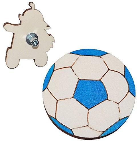 Möbelknauf / Möbelgriff / Möbelknopf - Fuball blau - aus Holz - für Kinder / Kinderzimmer Kindermöbel Möbel - Jungen Fussbälle Sport Ball blauer