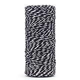 328pies durable Baker 's Twine Heavy Duty algodón artesanía Twine Cuerda de gran embalaje industrial, para aplicaciones de jardinería, color negro y blanco