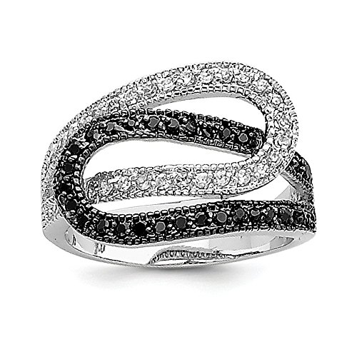 Sonia Jewels Sterling Silver Wedding Ring 925 Intertwined with Cubic Zirconia White and Black (3 mm)