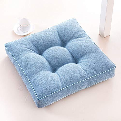 JiaQi Ammortizzazione Seduta Cuscino Quadrato Tinta Unita,Ispessita Cotone Soft Tatami Cuscino della Sedia,per Ufficio Yoga Auto Meditazione Cuscino da Terra-Blu A 40x40cm(16x16inch)