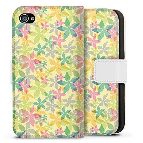Apple iPhone X Silikon Hülle Case Schutzhülle Bunt Muster blumen Sideflip Tasche weiß