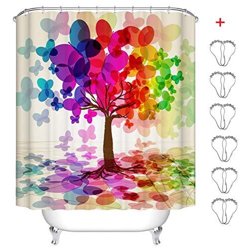 Min-xl tenda da doccia, tende per la doccia moderno impermeabile anti-muffa anti-batterica stampa digitale 3d tenda da bagno con 12 anelli per tenda da doccia (albero farfalla colorata, 180_x_180_cm)