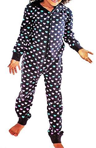 Kinder Schlaf JUMPSUIT Mädchen Pyjama Overall Schlafanzug lang Kapuze Gr. 110 bis 164 (122 / 128) (Pyjama Overall)