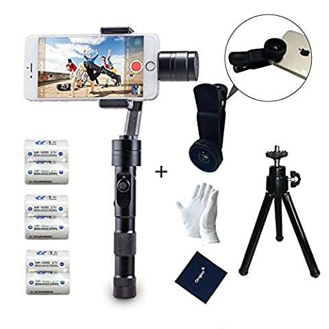 Zhiyun Z1 Smooth C with 4pcs batteries 3 Axis Joystick Handheld Smartphone Gimbal Stabilizer, Compatible with iPhone 7 7plus 6s Plus 6s 6Plus 6 5 5s 5c 4s 4 Samsung S5 S6 S6 edge YotaPhone Xiaomi huawei Smartphone +( Mobile wide angle lens and