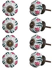 Indian-Shelf Handmade Ceramic Royal Door Knobs Wardrobe Pulls Dresser Handles(Pink, 1.75 Inches)-Pack of 8
