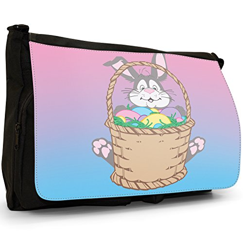 Fancy A Bag Borsa Messenger nero Easter Eggs Scattered In Field Easter Rabbit Sat With Basket Of Easter Eggs