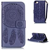 KKEIKO® iPhone 8 Case [Free Tempered Glass Screen Protector], Flip Leather Wallet Case for Apple iPhone 8, Vintage Embossing Flower iPhone 8 Cover Case with Card Slots, Magnetic Closure and Strap (Blue)