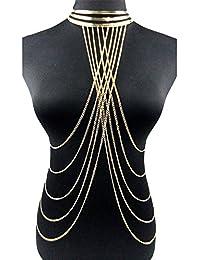 Mode Exagération Sexy Punk Or Collier Multi-Couche Glands Chaîne de Corps Bijoux de Corps