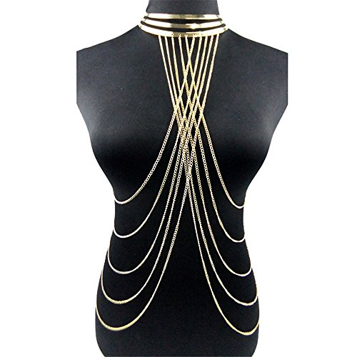 Fashion Exaggeration Sexy Punk Gold Collar Multilayered Tassels Body Chain Body Jewelry