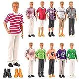 Miunana Lot 8 Kleidung für Ken Puppen = 3 Freizeitbekleidung + 3 Hosen +2 Paar Schuhe