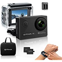 Action Camera 4K, OTHA Sport Action Cam Impermeabile 30M, Wi-Fi Full HD 16MP Videocamera, 170°Gradi SONY Sensor, Visione Notturna, 2 Batterie e Telecomando Wireless Incluse