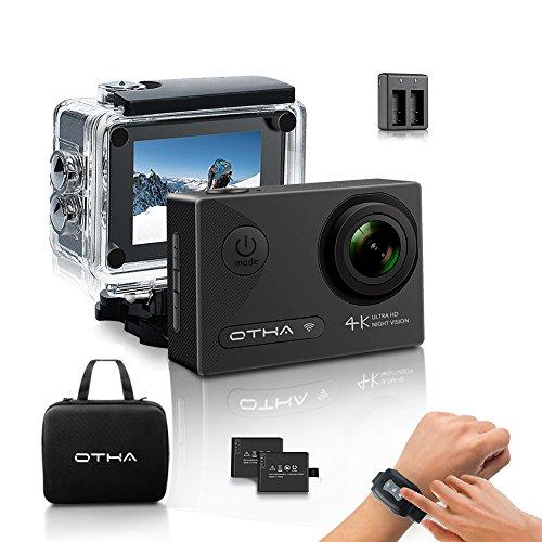 OTHA Action Kamera Sports Cam 4K Wi-Fi Ultra FHD 16MP Nachtsicht Helmkamera 170° Weitwinkel SONY Sensor Unterwasserkamera mit 2 Akkus und Fernsteuerung,Transport Tasche, Ladegerät