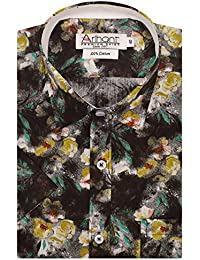 Arihant Men's Floral Print Half Sleeves Reguler Fit 100% Cotton Club Wear Formal Shirts