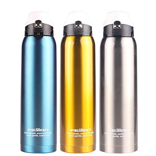 Trinkflasche für Unterwegs Angeln Auto Fahren, Edelstahl, Thermoskanne, große Kapazität von heißen Töpfen, Outdoor Sport, Wasserkocher, 1,5 L, SILBER