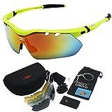 MEETLOCKS® Occhiali sportivi equitazione,Integrativa polarizzate, TR90 Telaio, ciclismo Wrap occhiali da sole con 5 lenti intercambiabili, per lo sci Golf Equitazione Guida Pesca Escursionismo e tutti gli sport all