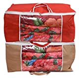 #10: Yellow Weaves™ Underbed Storage Bag, Storage Organiser, Blanket Cover with Designer Handles, Set of 2 Pcs - Red & Beige Color - (Extra Large Size)