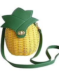Tonwhar Mädchen Tasche, süße Ananas, Strohtasche, gewebter Beutel