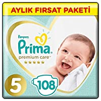 Prima Bebek Bezi Premium Care, 5 Beden, 108 Adet, Junior Aylık Fırsat Paketi