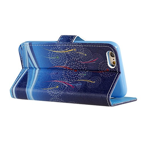 iPhone 6S Hülle,iPhone 6 Hülle,iPhone 6/6S Ledertasche Brieftasche im BookStyle,SainCat PU Leder Wallet Case Folio Schutzhülle Retro Blumenschale Muster Hülle Bumper Handytasche Skin Schale Soft Backc feu d'artifice