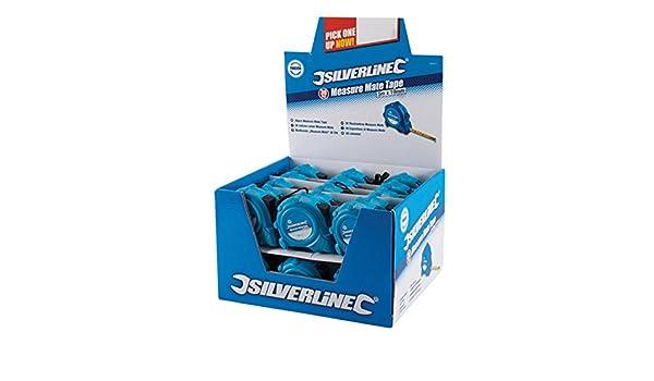 868620 Silverline Measure Mate Tape Display Box 30pce 5m x 19mm