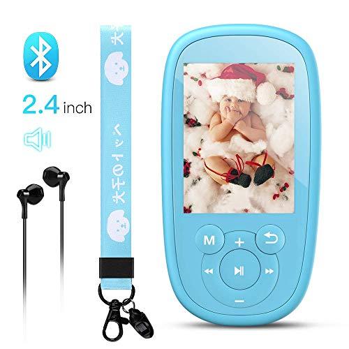 """Bluetooth MP3 Player Kinder, AGPTEK Einhorn MP4 Player 2,4"""" Bildschirm, Musik Player mit Lautsprecher, Kopfhörer, Wiegenlied, UKW-Radio, Schlaftimer und Sprachaufnahme usw. Blau"""