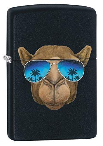 Zippo 16859 Camel With Sunglasses - Black Matte - Spring 2017 Feuerzeug, Chrom, Silber, 5.8 x 3.8 x 2.0 cm (Camel Zippo)
