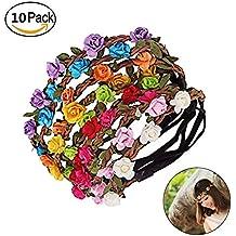 Wskderliner Diadema de Flores Corona de Pelo de Multicolor con Cinta Elástica Ajustable 10 piezas