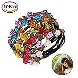 Wskderliner Blumen Stirnband Kopfband Farbig Elastische Bohemian Papier Flower Haarband Stirnbänder Strand Hochzeit Braut Brautjungfer Packung von 10