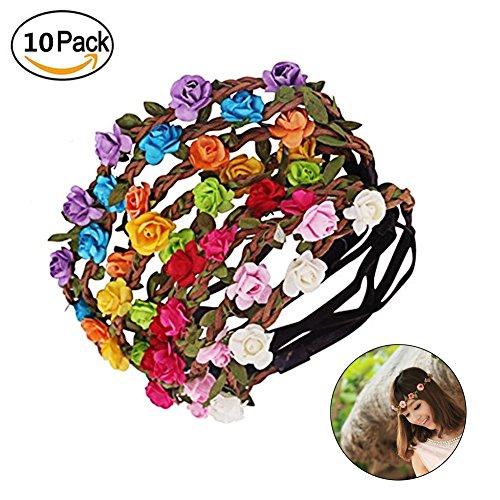 Wskderliner Mehrfarbig Blumen Stirnbänder Bohemia Style Kopfschmuck Haarbänder Strand Hochzeit Braut Packung von 10