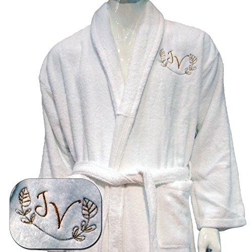 Preisvergleich Produktbild 5 * Personalisierte bestickt Hotel Edition Weiß Bademantel – ref. Leinen,  100 % Baumwolle,  weiß,  M