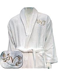 Bordado personalizado 5* HOTEL Edition blanco albornoz–ref. Lino, 100% algodón, Blanco, XL