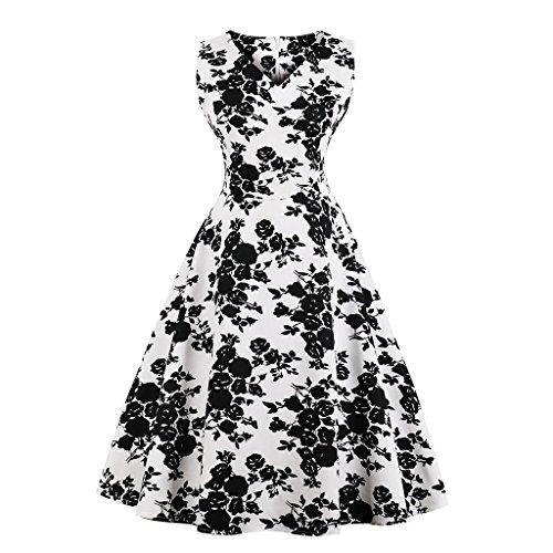 CMKEJI Damen Vintage Kleid Cocktailkleid Abendkleid Ballkleid Rockabilly Taillenbetontes Kleid...