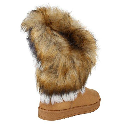 Stiefelparadies Damen Stiefeletten Warm Gefütterte Stiefel Leder-Optik Winter Boots Nieten Zipper Schnallen Camouflage Schuhe Flandell Hellbraun Weiss