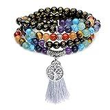 Jovivi 108 Perles Agate Bracelet/Collier Chaîne Chapelet 7 Pierres Chakras...