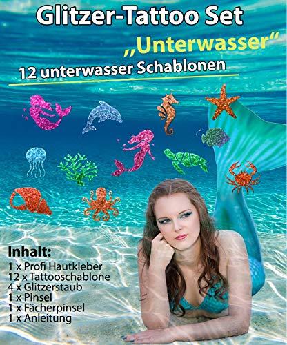 Glitzer Tattoo SET Kinder Unterwasser mit Hautkleber, 2 Pinsel,4 Glitzer,12 Schablonen Meerjungfrau -