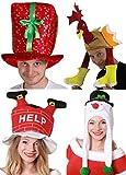 Noël Chapeaux Pack de fête 4 pièces pour hommes femmes Noël déguisement costume ensemble d'accessoires cadeau chapeau + Chapeau Dinde + Bonhomme de neige chapeau + Santa descendant cheminée chapeau