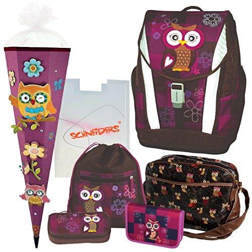 Olivia The OWL Eule Schulranzen Set 7 TLG. Toolbag Soft Schneiders u. passende FEDERTASCHE Sporttasche hochwertige schöne 3D-SCHNELL-BASTELTÜTE 85 cm - 78405-0513