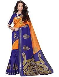 DESIGN WILLA Summer Cotton Saree New Collection(blue And Orange)
