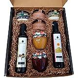 Cesta regalo gourmet con aceite oliva virgen extra, vinagre D.O. Jerez y patés de La Chinata, mermelada natural artesana rein