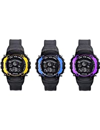 Iconic Digital Seven Light Combo Wrist Watch For Boy's & Kid's (Pack Of 3)