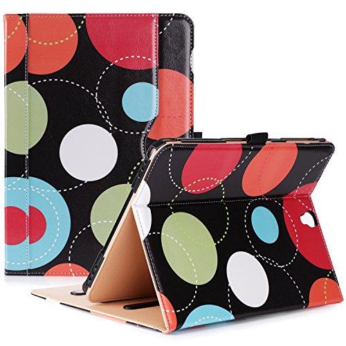 ProCase Klappen Schutzhülle für Galaxy Tab S3 Tablet, Stand Folio Case Cover für Galaxy Tab S3 Tablette (9,7 Zoll, SM-T820 T825), mit Mehreren Betrachtungswinkeln, Dokumentenkarte Tasche -Kreise